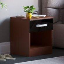 Hulio 1 Drawer Bedside Cabinet, Walnut & Black