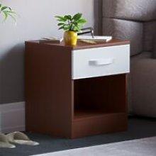 Hulio 1 Drawer Bedside Cabinet, Walnut & White