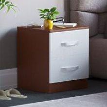 Hulio 2 Drawer Bedside Cabinet, Walnut & White