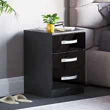 Hulio 3 Drawer Bedside Cabinet, Black