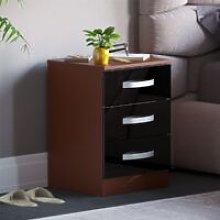 Hulio 3 Drawer Bedside Cabinet, Walnut & Black