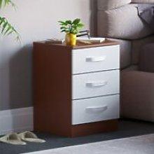 Hulio 3 Drawer Bedside Cabinet, Walnut & White