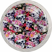 Human Skulls with Flowers Colorful Crystal Glass