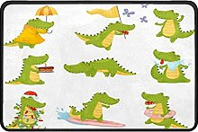 Humanized Crocodiles Doormat Rug Easy to Clean Non