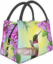 Hummingbird Bird Pink Horse Insulated Lunch Bag,