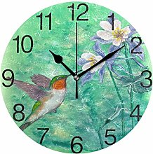 Hummingbird with Floral Round Wall Clock, Silent