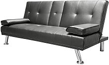 Humza Amani Faux Leather Folding Sofa Bed With Cup