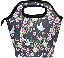 hunihuni Crane Floral Flower Insulated Thermal