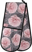 Hunihuni Double Oven Mitts Camellia Pink Rose