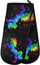 Hunihuni Double Oven Mitts Colorful Rainbow Galaxy