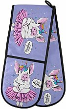 Hunihuni Double Oven Mitts Cute Pig Unicorn Heat