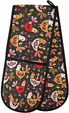 Hunihuni Double Oven Mitts Flower Rooster Chicken