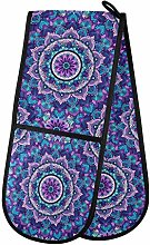 Hunihuni Double Oven Mitts Mandala Purple Floral