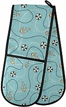 Hunihuni Double Oven Mitts Nautical Ocean Anchor