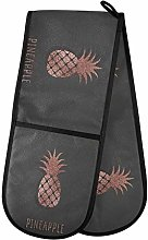 Hunihuni Double Oven Mitts Rose Gold Pineapple