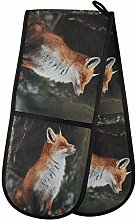 Hunihuni Double Oven Mitts Wild Forest Animal Fox