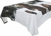 Hunihuni Rectangle Tablecloth,Animal Grizzly Bear