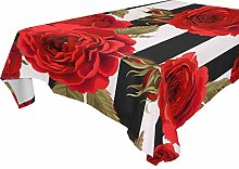 Hunihuni Rectangle Tablecloth,Red Rose Polyester