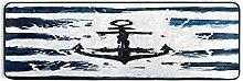 Hunihuni Runner Rug,Nautical Marine Anchor Non