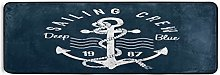 Hunihuni Runner Rug,Ocean Sea Nautical Anchor Non