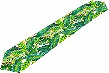 Hunihuni Tropical Palm Leaves Pattern Table Runner