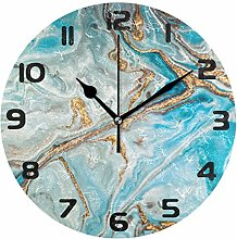 Hunihuni Wall Clock Turquoise Marble Texture