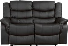 Hunter Leather 2 Seater Recliner Sofa, Black