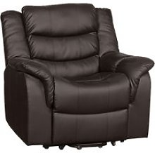Hunter Leather Recliner Armchair (Brown), Brown