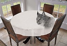 Hunting Decor Round Tablecloth,Lynx in Central