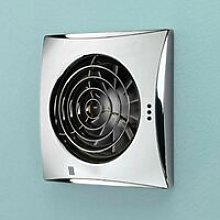 Hush Chrome Wall Mounted Bathroom Fan with Timer &