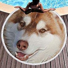 Huskies Printed Round Beach Towel Yoga Picnic Mat