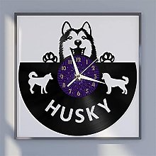 Husky dog theme vinyl record wall clock wall
