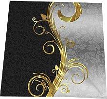 Hustor Cloth Napkins,Elegant Black Damasks Gold &
