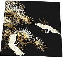 Hustor Cloth Napkins,Japanese Cranes Black Gold
