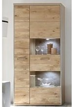 Huxley Wooden Display Cabinet In Bianco Oak With