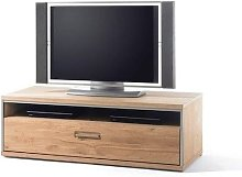 Huxley Wooden Low TV Cabinet In Bianco Oak With 1
