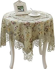 HVKLHNF Embroidered Tablecloth Pastoral Round