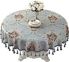 HVKLHNF Tablecloth Round Big Round Table Blue Home