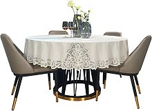 HVKLHNF Waterproof Round Tablecloth Pvc Lace Big