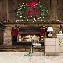 HWCUHL 3D Christmas Fireplace Self Adhesive Canvas