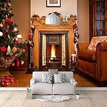 HWCUHL 3D Murals Wall Stickers Christmas Fireplace