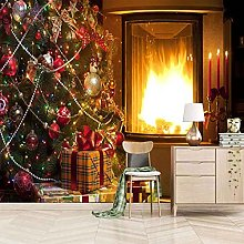 HWCUHL 3D Wall Stickers Mural Christmas Fireplace