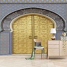 HWCUHL 3D Wall Stickers Mural Golden Arched Door