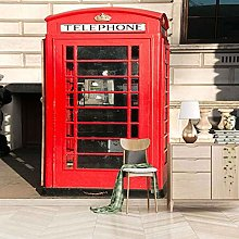 HWCUHL 3D Wall Stickers Mural Red Phone Booth
