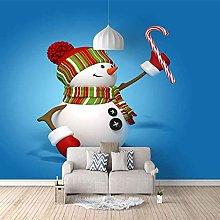 HWCUHL Wall Mural Wallpaper Blue Christmas Snowman