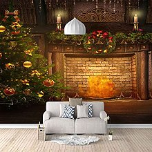 HWCUHL Wall Mural Wallpaper Christmas Fireplace
