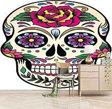 HWCUHL Wall Mural Wallpaper Colorful Skull Wall