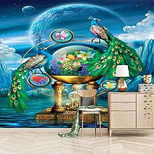 HWCUHL Wall Mural Wallpaper Garden Green Peacock