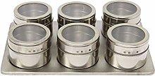 HWNGDI 7in1 Magnetic Spice Jar Set Rack Holder