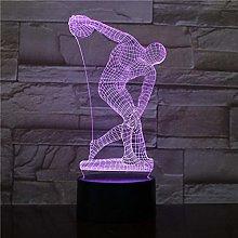 HXFGL 3D Night Light Throwing Discus LED Desk lamp